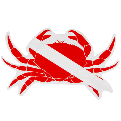 Graphic Ocean Large Die Cut SCUBA Sticker: 8 x 4.3 Inch, Crab
