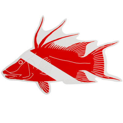 Trident Graphic Ocean Large Die Cut SCUBA Sticker: 8 x 5 Inch, Hogfish