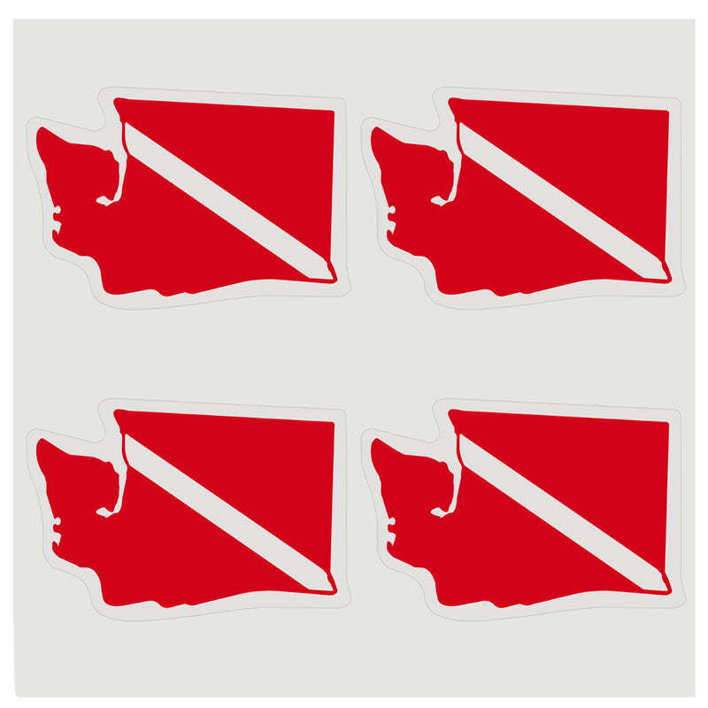 Sheet of Four Trident High Gloss Vinyl SCUBA Stickers, Washington