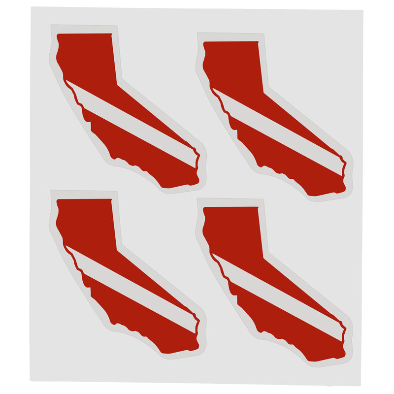 Sheet of Four Trident High Gloss Vinyl SCUBA Stickers, California