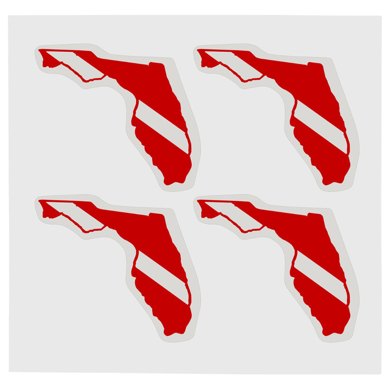 Sheet of Four Trident High Gloss Vinyl SCUBA Stickers, Florida