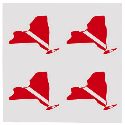 Sheet of Four Trident High Gloss Vinyl SCUBA Stickers, New York