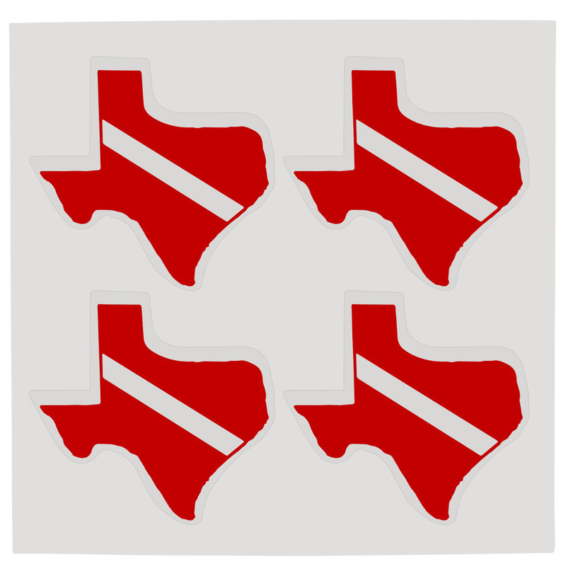 Sheet of Four Trident High Gloss Vinyl SCUBA Stickers, Texas
