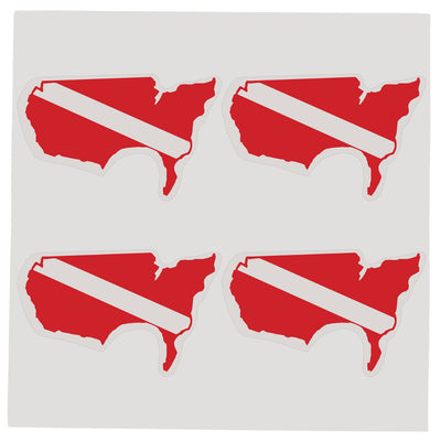 Sheet of Four Trident High Gloss Vinyl SCUBA Stickers, USA