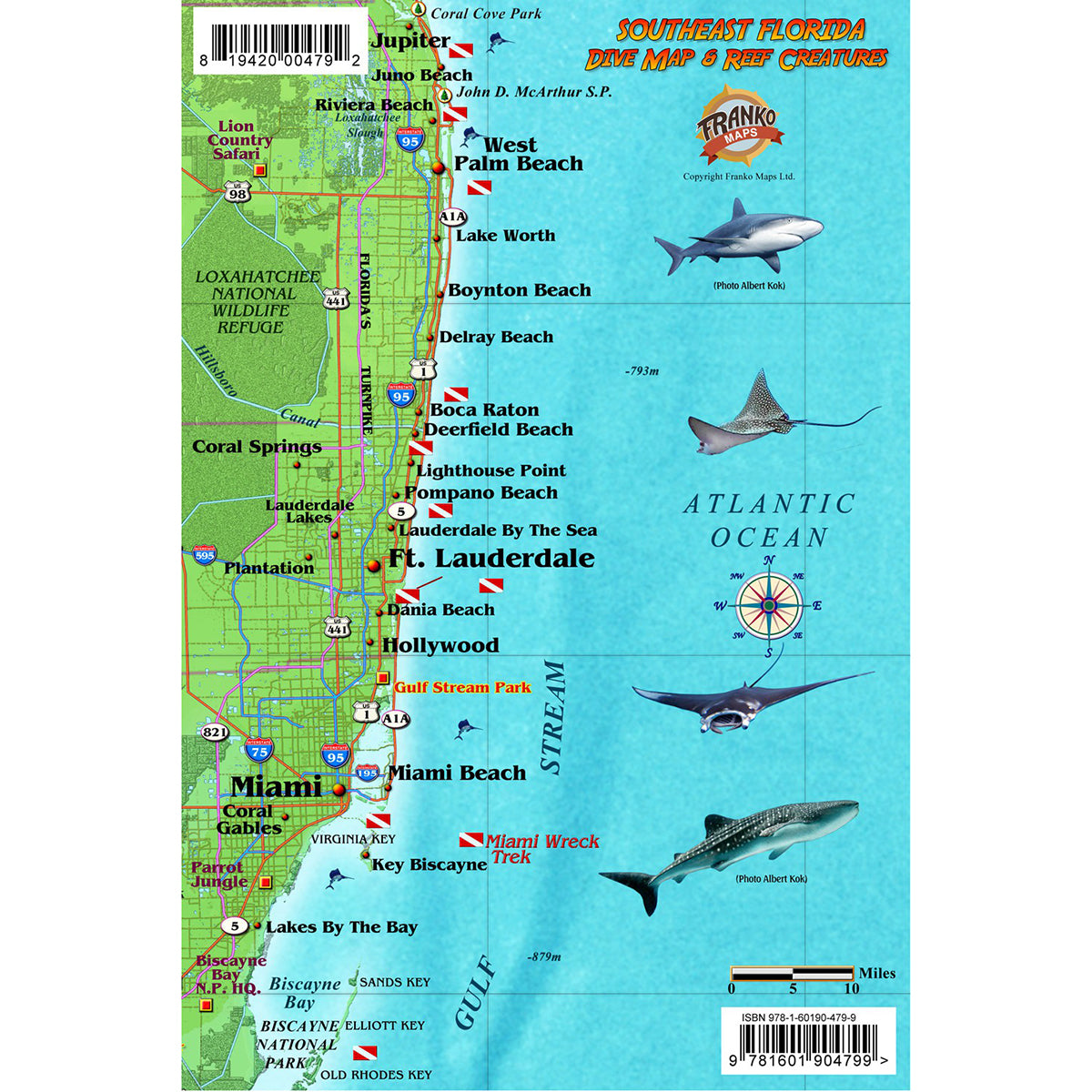Map Of Southeast Florida Beaches.Franko Maps Southeast Florida Reef Dive Creature Guide 5 5 X 8 5 Inch