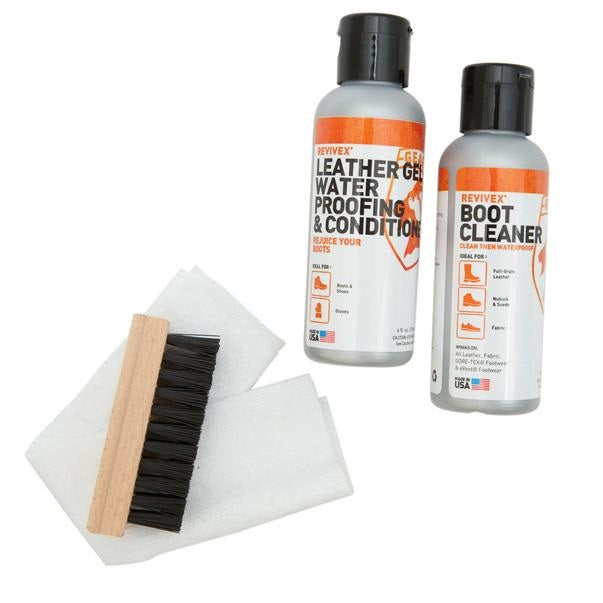 Gear Aid ReviveX Leather Boot Care Kit with Water Repellent, Cleaner, Brush and Cloth