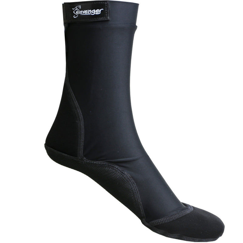 Tall black sand socks with Velcro for outdoor volleyball and beach soccer