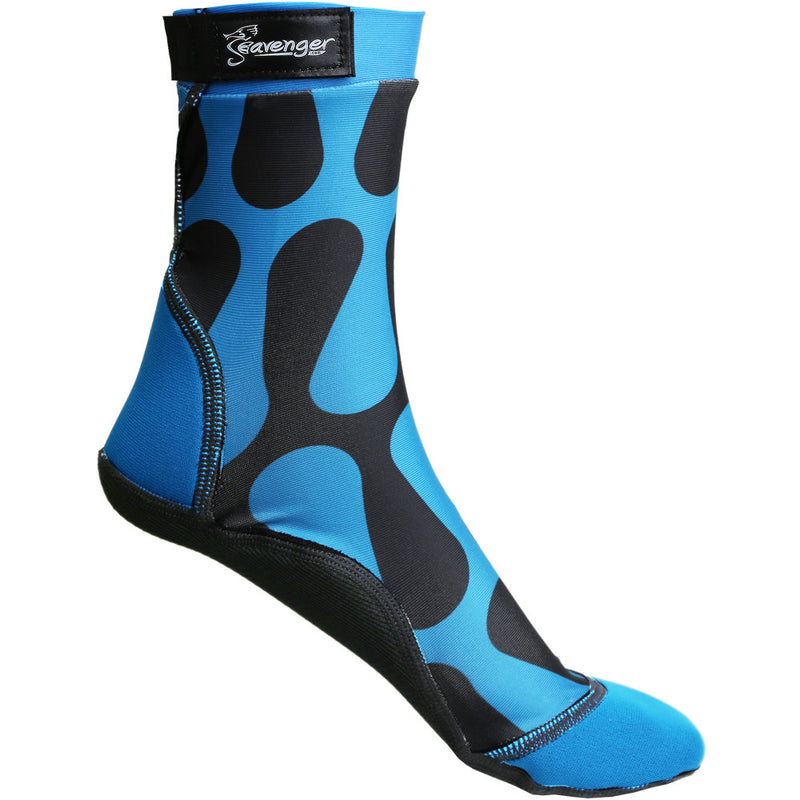 tall beach socks with a blue wave pattern