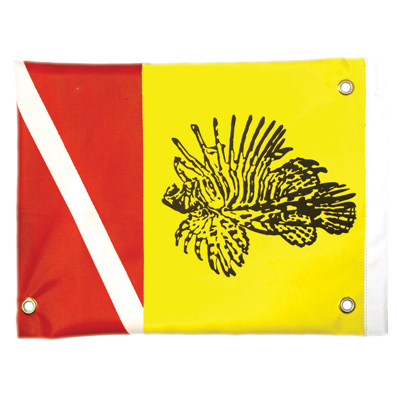 Trident Lionfish Hunter Dive Flag with Stiffener and Grommets