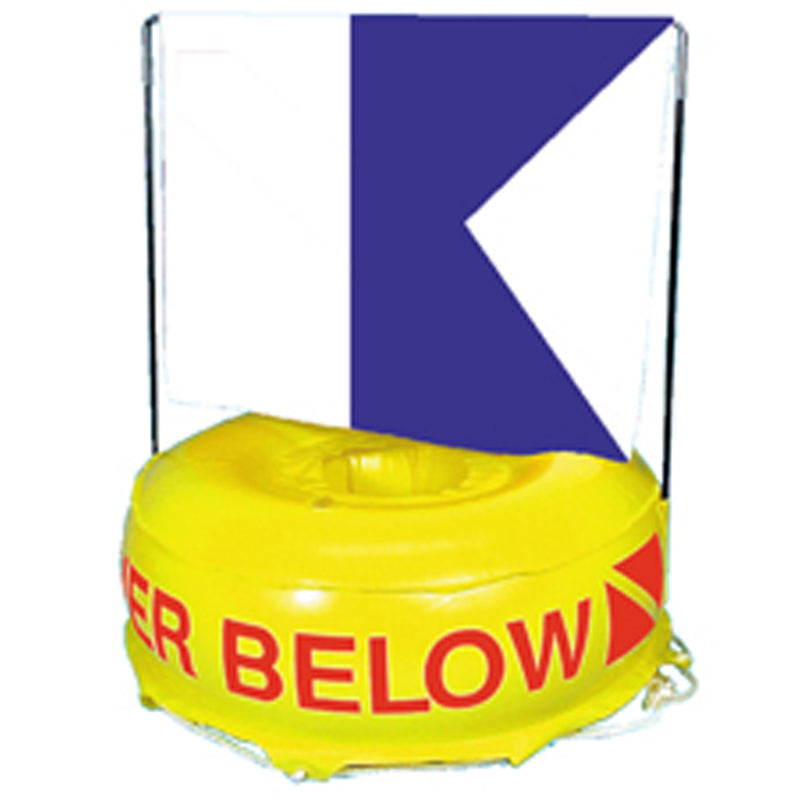 Trident Flag-N-Float Inflatable Disc Buoy with Alpha Flag, 22""