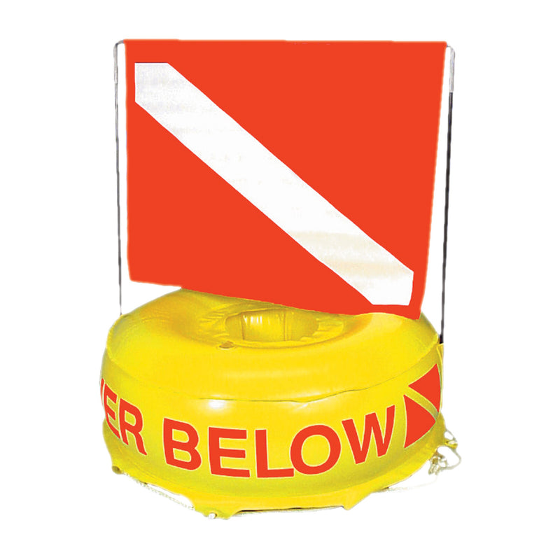 Trident Flag-N-Float Inflatable Disc Buoy with Diver Down Flag, 22""