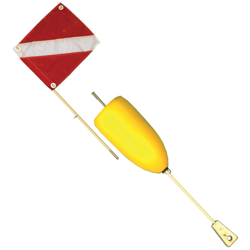 Trident Deluxe Two Piece Flag Float Surface Buoy, 5ft (1.52m) Pole