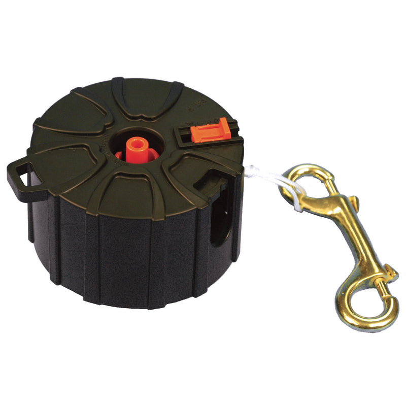 Trident Enclosed Finger Reel with 100ft Line, Double-Ended Bolt Snap