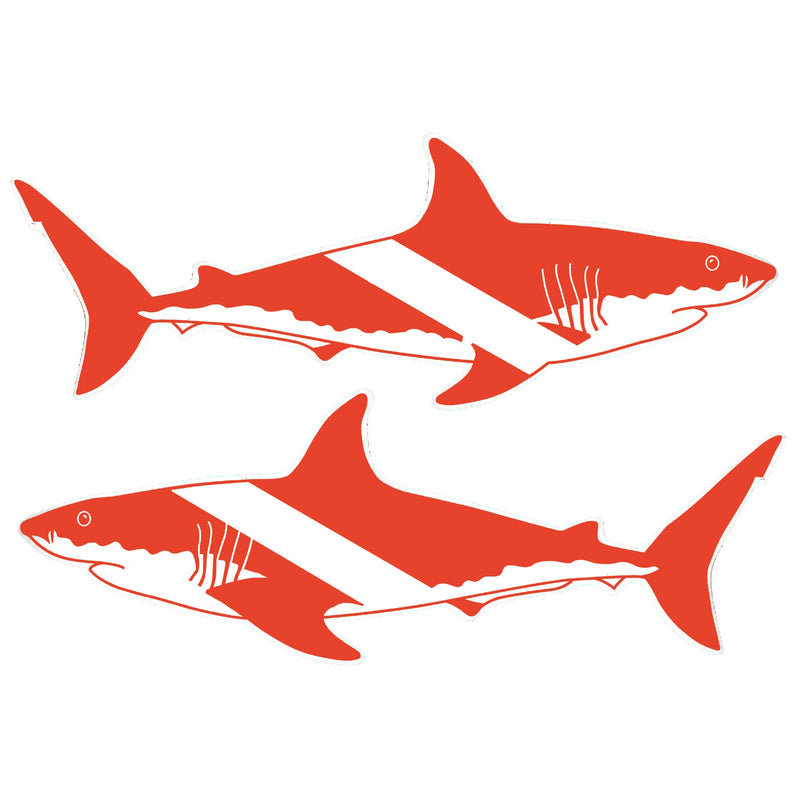 Set Of Two Large Trident High Gloss Vinyl SCUBA Stickers: 12 x 5 Inch Shark