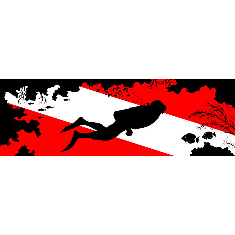Diver On Flag And Reef Bumper Sticker