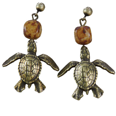 Turtle Earrings Brass