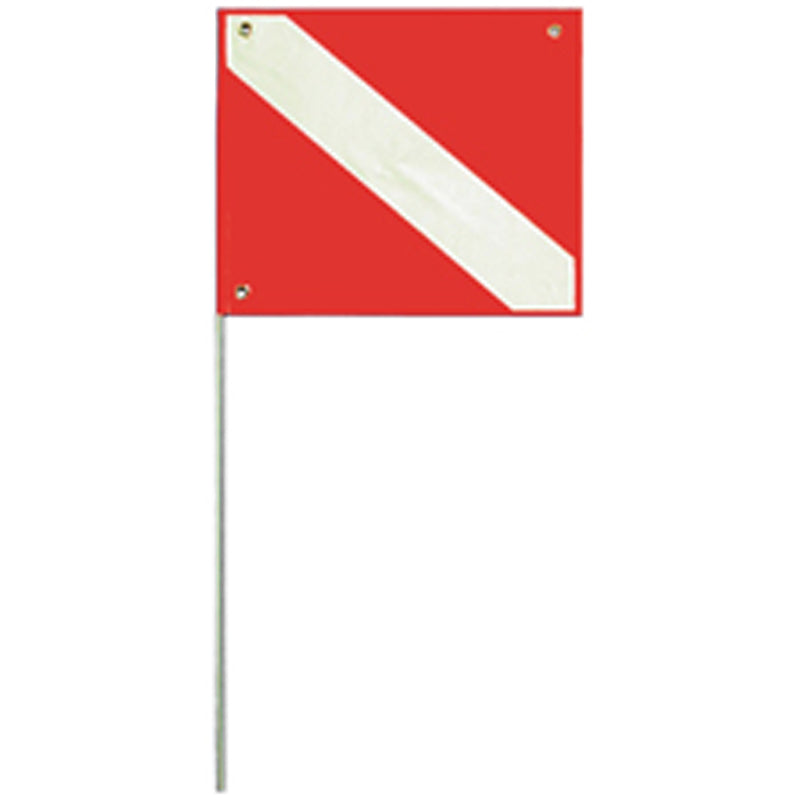 Trident 20 x 24 Inch Diver Down Flag with 45 Inch Rod and Stiffener