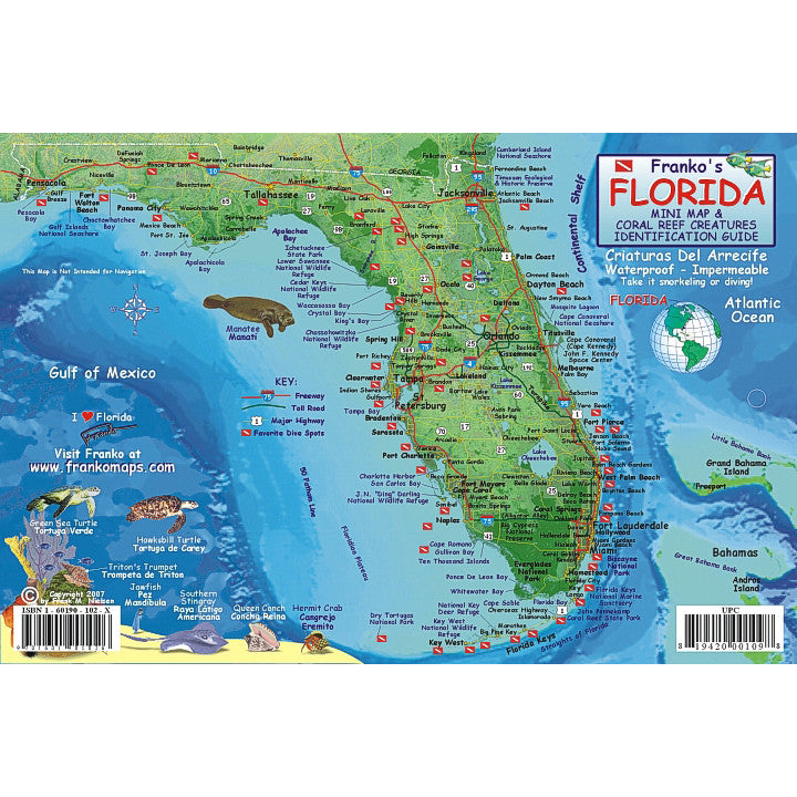 Franko Maps Florida State Reef Creatures Card