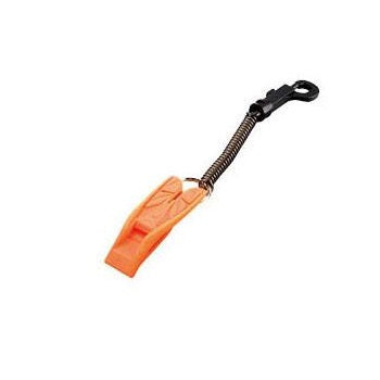 IST Split Fin Shaped Safety Whistle with Coiled Lanyard and Clip