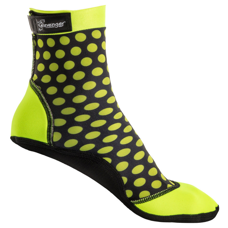 tall beach socks with yellow polka dots