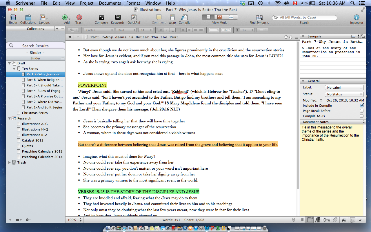Scrivener for Sermons - or Other Important Writing that is Critical