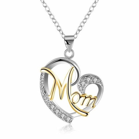 MOM Heart Shape Crystal Pendant Necklace, [product_type] - powermovz
