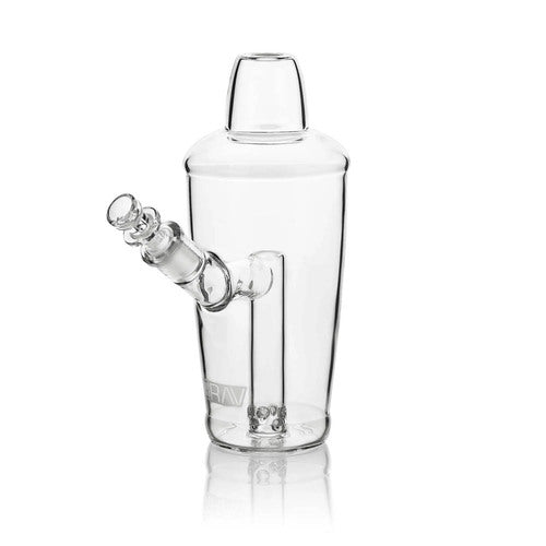"GRAV Sip Series - 7.5"" Martini Shaker Bubbler- Clear (14mm Bowl) Fixed 8-Hole Fission Downstem."