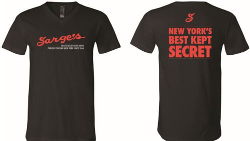 Sarge's 100% Cotton V-Neck Black Tee