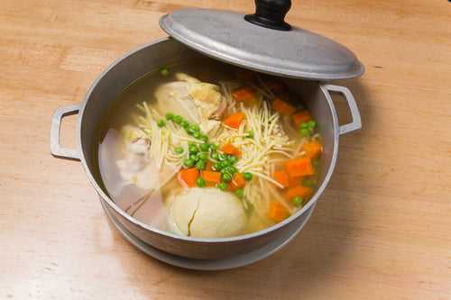 Boiled Chicken in a Pot with Matzo Balls (Feeds 2)