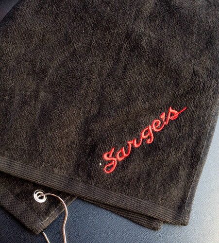 Sarge's Black Golf Towel
