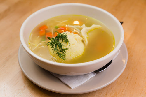 Chicken Consomme ADDITIONS (DOES NOT INCLUDE CONSOMME)(Sarge's Famous Large Homemade Kreplach and Matzo Balls)