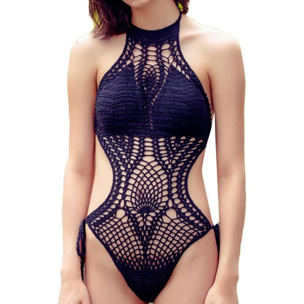 2018 Floral Women Summer Crochet One-piece Swimwear Brazilian