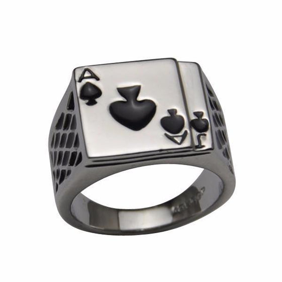 White & Black Poker Ring