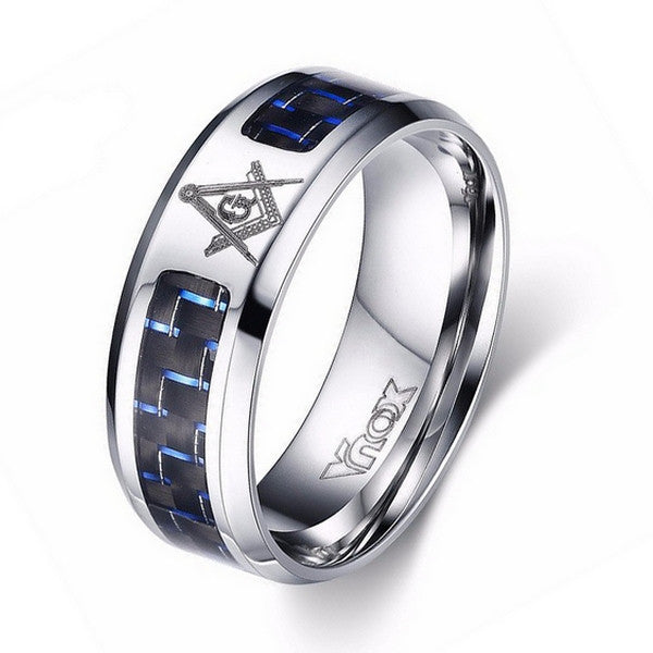 Men Ring in Blue & Black Carbon Fiber