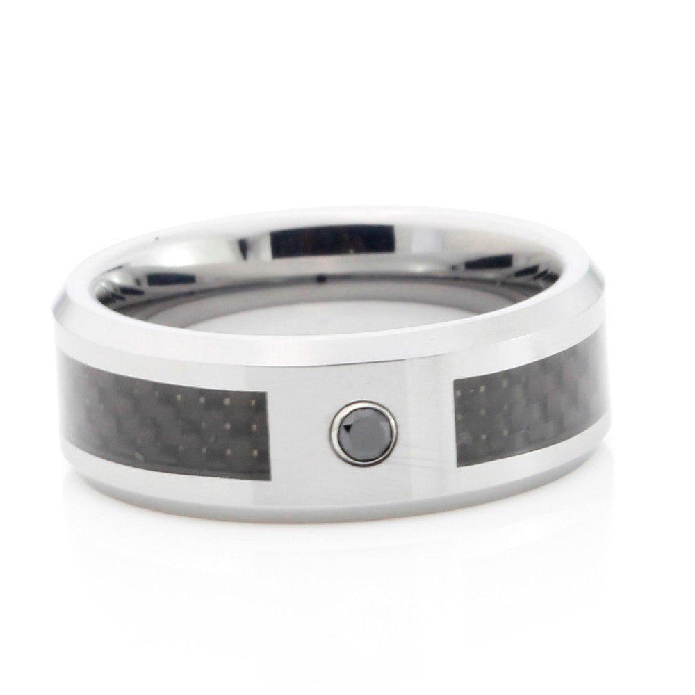 Zircon Stone High Gloss Black Carbon Ring