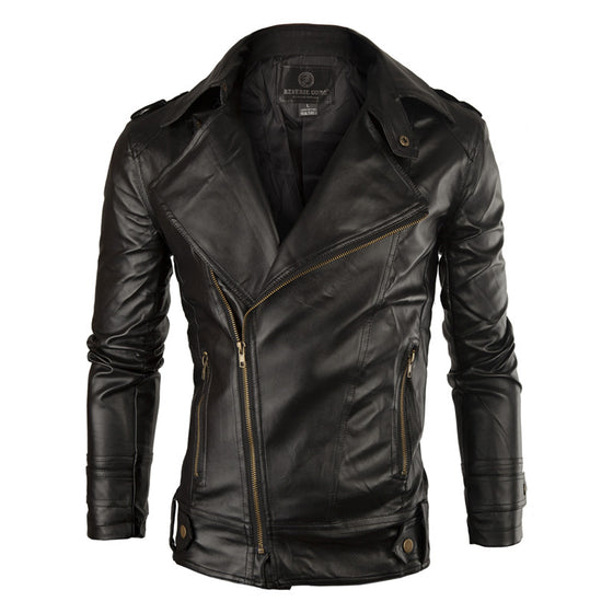 Sideways Zipper Leather Jacket