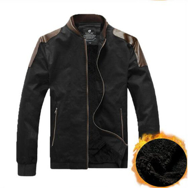 Stitched Line Wool & Leather Jacket