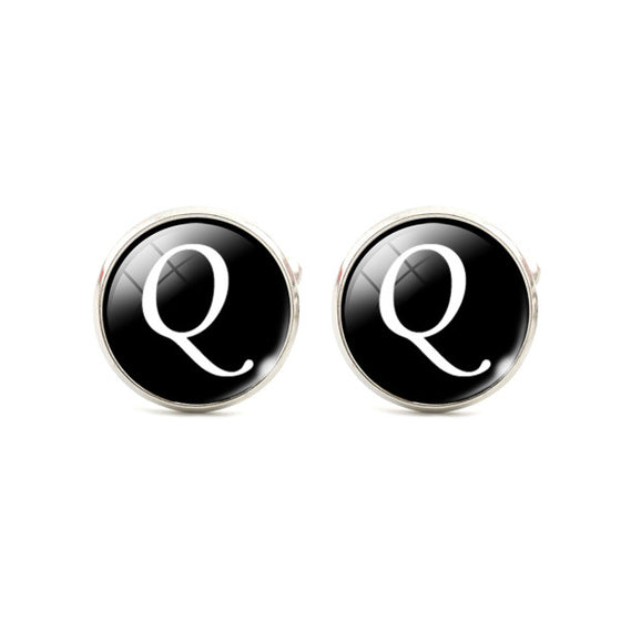 Alphabet Single Letter Black CuffLinks