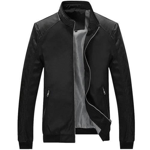 Solid Color Leather Jacket