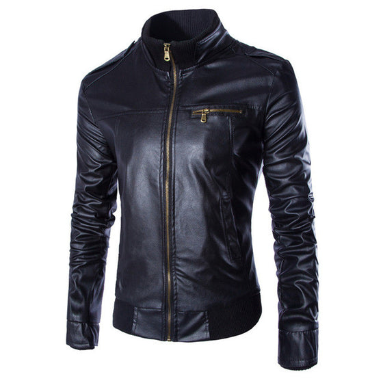 Stand-Collar Stylish Leather Jacket