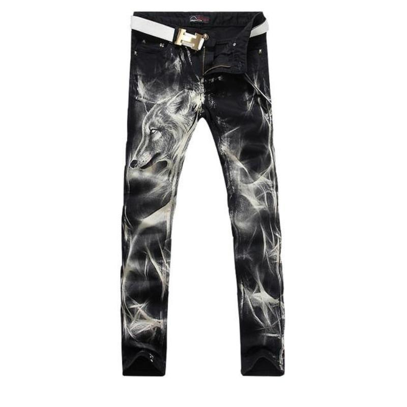 Wolf Printed Straight Jeans