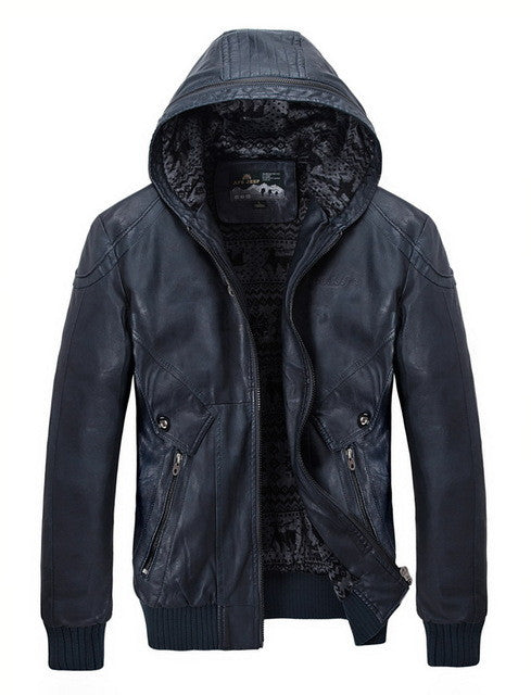 Hooded Slim Fit Biker Leather Jacket