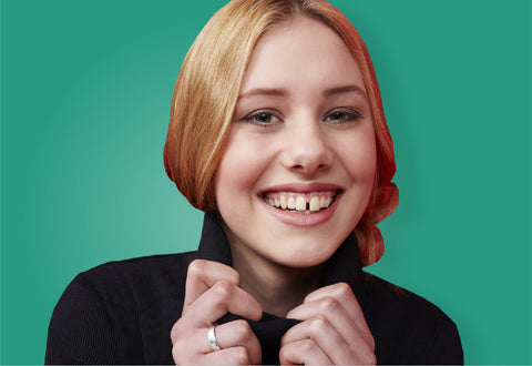 Girl with gapped teeth