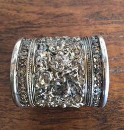 Antique Silver Plated Ornate Carved Napkin Ring