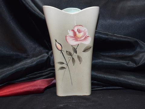Mid Century Green Vase with Pink Roses - Made In Japan