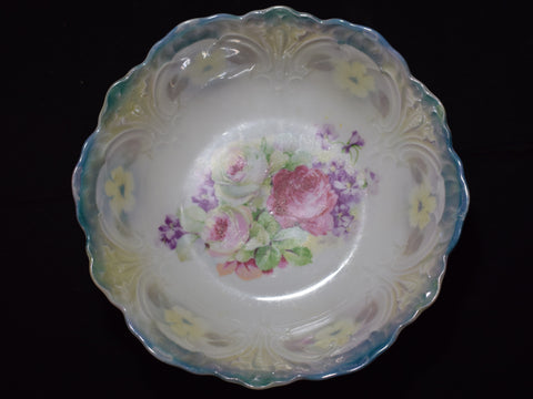 Vintage Blue and Pink Flower Bowl - Made In Germany