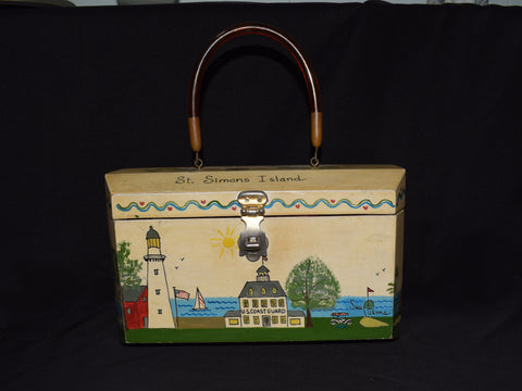 St. Simons Island Painted Vintage Purse