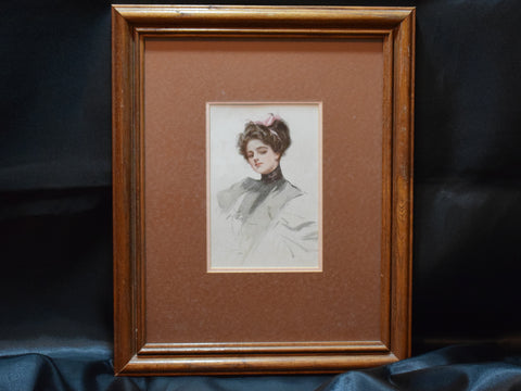 Harrison Fisher Print Girl in Pink Bow 1908, Framed