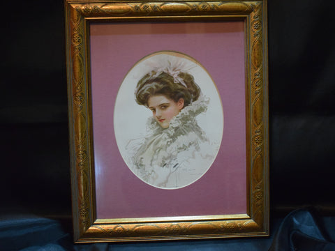 Harrison Fisher Print Girl with White Ruffled Dress and Pink Bow, Framed