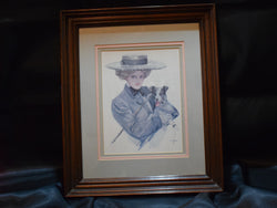 Harrison Fisher Print of Woman in Brim Hat, Cane, and Holding a Dog, Framed